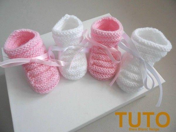nouveau concept d3ff5 76c9c Explications chaussons bébé tricot laine fait main