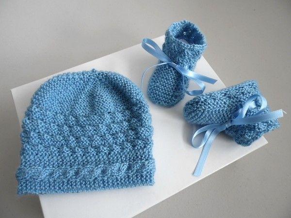 e2fe44f5f208 Tricot bébé, bonnet chaussons bleu charron torsade bbn - Centerblog
