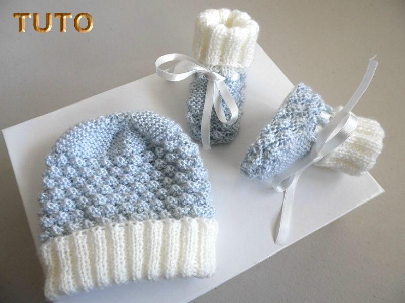 tuto tricot b b bonnet chaussons bb laine. Black Bedroom Furniture Sets. Home Design Ideas